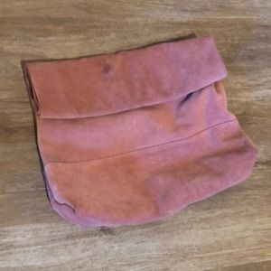 ASOS suede clutch, oversized foldover, blush pink